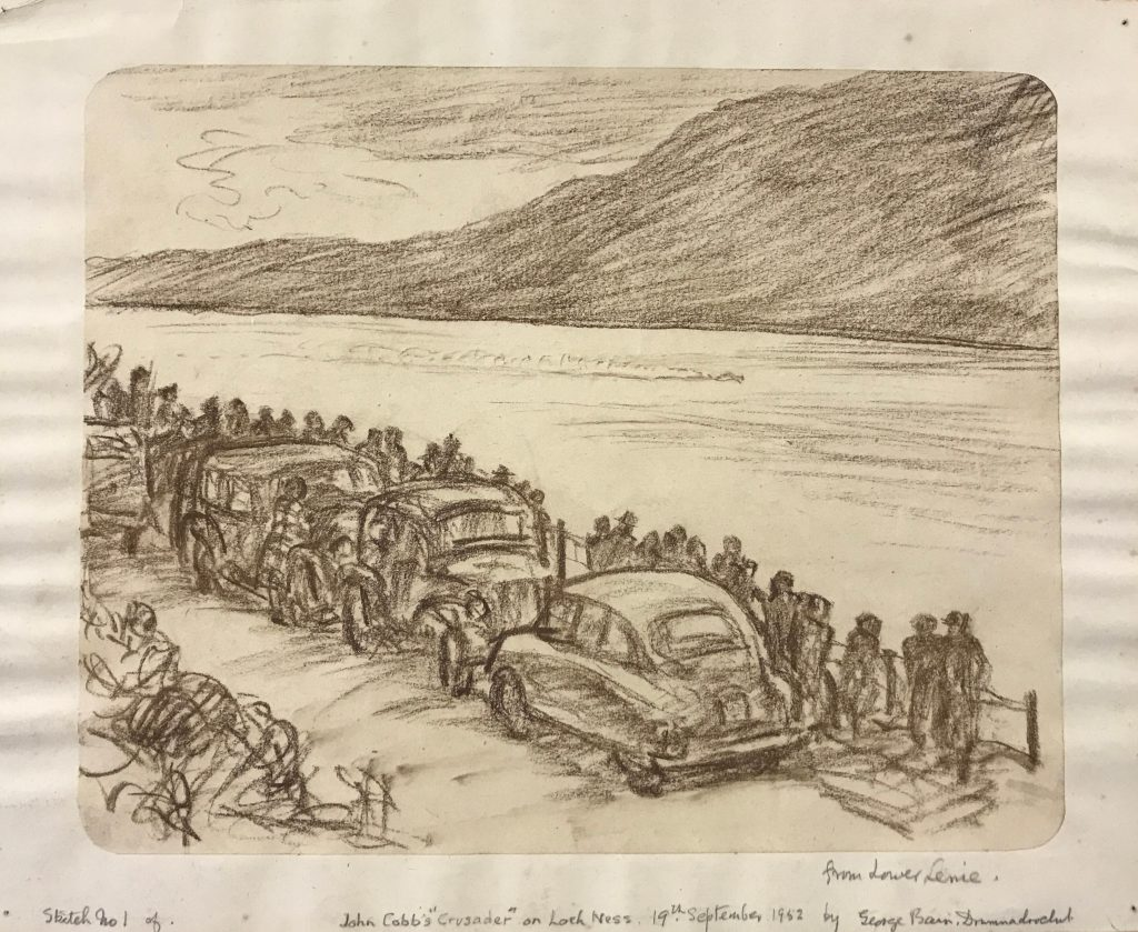 Crayon sketch of people watching a blur of movement on Loch Ness